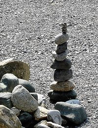 Working together. stacked stones cropped